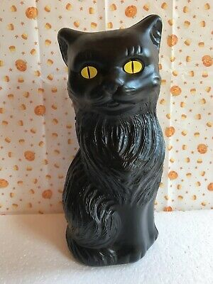 $ CDN17.48 • Buy Blow Mold Halloween Black Cat Bank  Decoration Yellow Eyes Union Products  11""