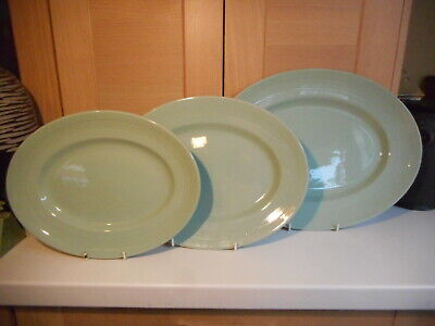 Vintage Woods Ware Green Beryl Ware 3 Graduated Oval Dinner Serving Plates • 20£