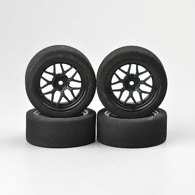 4Pcs Foam Racing Tires With Wheels 12mm Hex For HSP HPI RC 1:10 On-Road Car • 12.99£
