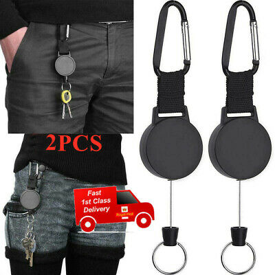 £4.95 • Buy 2x Retractable Stainless Steel Keyring Pull Ring Key Chain Recoil Heavy Duty T