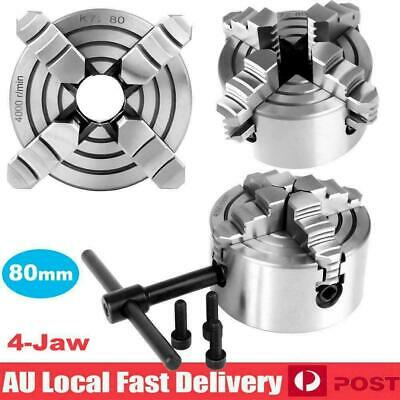 AU68.89 • Buy 80mm 3-1/8  4 Jaw Metal Lathe Chuck Independent Jaws & Key Handle Recessed Back