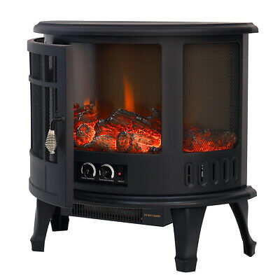 Electric Fireplace Log Burning Flame Effect Stove Fire Heater Thermal Wood 1800W • 139.95£