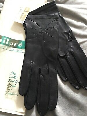 LEATHER Gloves LADIES MILORE BUTTER SOFT BLACK RETRO GLOVES SIZE 7 NEW • 27.90£