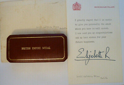 Bem British Empire Medal 1970 Original Box With Signed Letter From Qeii • 150£