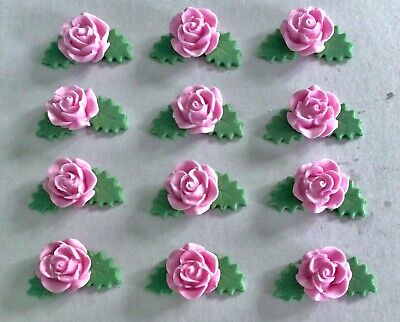 Edible Sugar Icing Roses Leaves Flowers Mothers Day Cup Cake Toppers Decorations • 4.45£