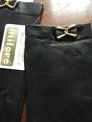 LEATHER Gloves LADIES MILORE BUTTER SOFT BLACK RETRO GLOVES SIZE 7 England • 27.90£