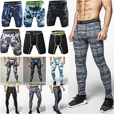 Men Shorts Long Pants Base Layer Leggings Compression Bottoms Slim Fit Sports UK • 10.19£