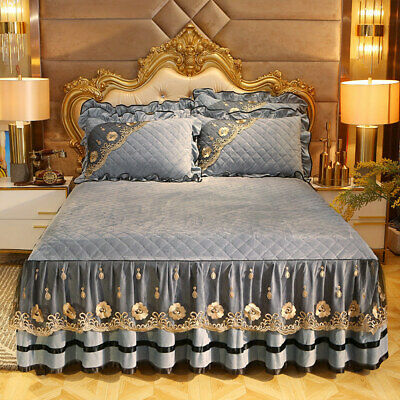 Qulited Velvet Lace Queen Bedspread Twin Full Fitted Bed Sheet Ruffles Skirt New • 59.19£