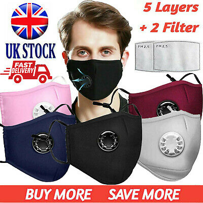 Face Mask Washable Reusable Anti Pollution PM2.5 Two Air Vent With Carbon Filter • 3.99£