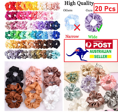 AU16.99 • Buy 20 Pcs Fashion Solid Silk Satin Scrunchie Hair Band Hair Accessories