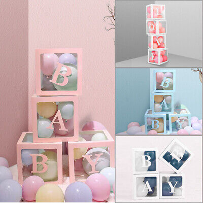 AU18.19 • Buy 4Pcs/Set LOVE BABY Balloons Box Cube Clear Gift Boxes Birthday Baby Shower Party
