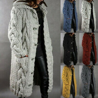 £28.99 • Buy Womens Hooded Chunky Long Knitted  Cardigan Winter Coat Oversize Sweater Tops UK