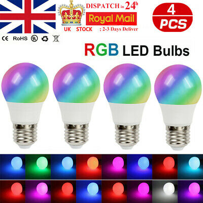 £12.99 • Buy 4PC RGB Bulb LED Light 16 Colour Changing Remote Control Party Disco Magic Lamp
