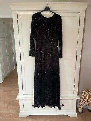 £10 • Buy French Connection Black Sequinned Floor Length Dress Size 8