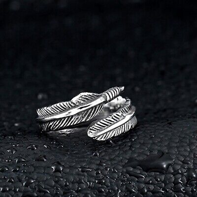 925 Silver Feather Adjustable Ring Jewellery Memory Love Chunky Present Gift  • 4.99£