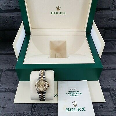 Ladies Steel & 18ct Gold Rolex Datejust With Factory Champagne Diamond Dial. • 3,750£