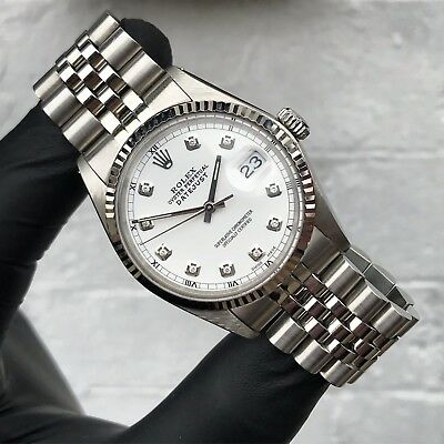 Stainless Steel & White Gold Rolex Oyster Perpetual Datejust With White Diamond. • 3,995£