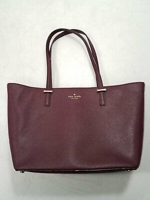 $ CDN26.16 • Buy Kate Spade NY Womens Plum Purple Textured Leather Shoulder Tote Bag
