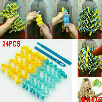 24Pcs Magic Hair Curler Roller Soft Spiral Bendy Rollers Water Wave Curling Lots • 7.49£