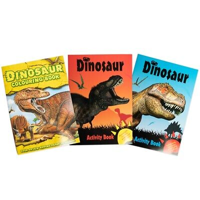 3x DINOSAUR ACTIVITY BOOKS Kids Colouring Dot To Dot Craft Fun Travel Packs UK • 5.98£
