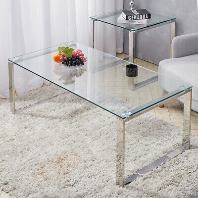 Modern Clear Glass Coffee Tea Table Living Room Reception Table With Chrome Legs • 95.95£
