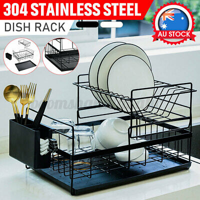 AU28.99 • Buy Dish Rack Drainer Drying With Tray Cutlery Holder Utensil Caddy Stainless Steel