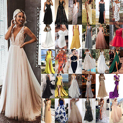 £18.29 • Buy Womens Formal Prom Ball Gown Evening Party Wedding Bridesmaid Bridal Maxi Dress