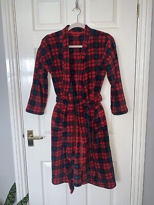 M&S Boys Red Tartan Fleecy Dressing Gown Age 11-12 Years • 4£