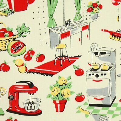 $12 • Buy  Michael Miller- 50's Kitchen, Vintage - Fabric By The Yard 100% Cotton CX1595