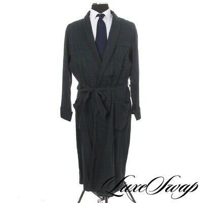 Brooks Brothers 346 Navy Green Blackwatch Flannel Tartan Dressing Gown Robe M NR • 7.36£
