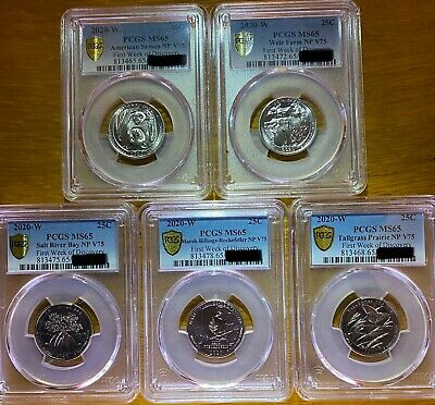 """$ CDN1645.79 • Buy Amazing Set! 2020 W Quarters ⭐️PCGS MS65⭐️ All 5 Coins """"First Week Gold Shield"""""""