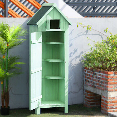Garden Shed Wooden Outdoor Tool Storage Cabinet Furniture Waterproof With Roof • 189.95£