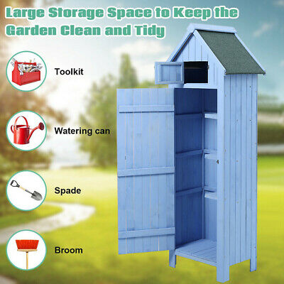 Outdoor Garden Shed Wooden Tool Storage Shelves Utility Cabinet Waterproof Roof • 189.95£