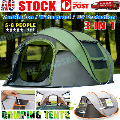 AU99.99 • Buy 3-4/5-8 Person Waterproof Camping Tent Quick Open Shade Family Outdoor Hiking OZ