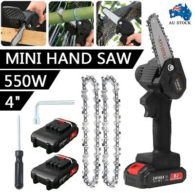 AU72.99 • Buy Mini One-Hand Saw Woodworking Electric Chainsaw Wood Cutter Cordless & 2 Battery