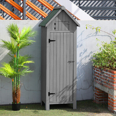 Grey Wooden Outdoor Garden Shed Storage Cupboard Apex Roof Tool Cabinet Shelves • 189.95£