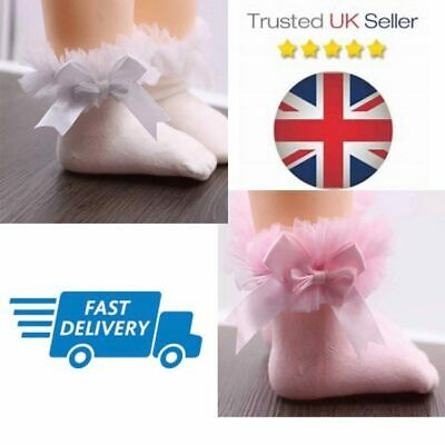 BABY SOCKS Girls NEWBORN Pairs Ankle Frilly Bow Lace COTTON Tutu Infant • 4.99£