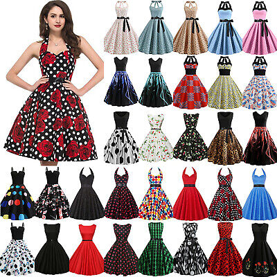 £12.44 • Buy Womens Vintage Rockabilly 50s 60s Pinup Swing Cocktail Party Evening Midi Dress