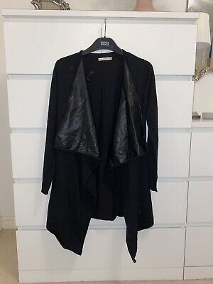 Zara Faux Leather Front Waterfall Front Cardigan Size Small • 0.99£