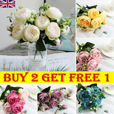 £5.79 • Buy 9 Heads Artificial Flowers Silk Peony Bouquet Fake Rose Wedding Home Party Decor
