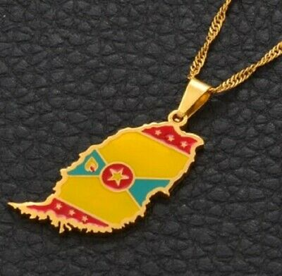 £12.95 • Buy Gold Grenada Flag Map Necklace Pendant & Chain Caribbean Grenadines West Indies