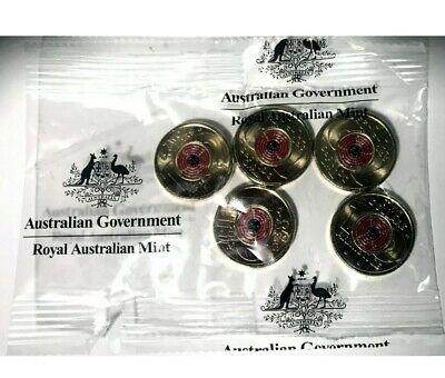 AU15.50 • Buy 2018 $2 Two Dollar Remembrance Day Armistice RAM Bag Of 5 Coins Red Poppy Coins