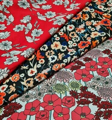 £3.99 • Buy  Fabric Chiffon Crepe Floral Printed  Dress Making  - Sold By The Metre