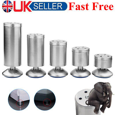 4x Adjustable Stainless Steel Furniture Legs Feet Cabinet Couch Sofa Table Parts • 9.89£