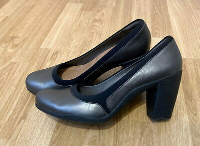 Clarks Pewter (Silver/Grey) Adya Maia High Heel Pumps Shoes - Size 9 • 25£