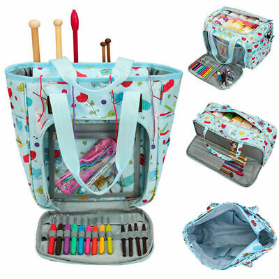 Print Knitting Yarn Storage Bag Case Crochet Hooks Thread Sewing Organizer Bags • 22.10£