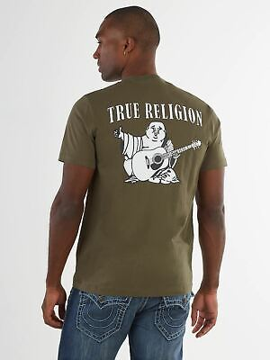 TRUE RELIGION Men's Khaki Green Buddha Printed Short Sleeve XXL RRP59 BNWT • 29.50£