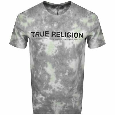 TRUE RELIGION Men's Grey & White Short Sleeve T-Shirt Batik Size M RRP69 BNWT • 34.50£