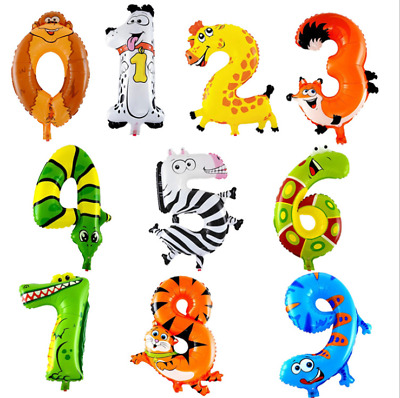 AU3.20 • Buy 16 Inch Animal Foil Number Balloon Jungle Party Decoration