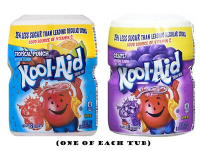 Kool-Aid Grape & Fruit Punch Soft Drink Mixes 538g (One Of Each Tub) • 15.49£
